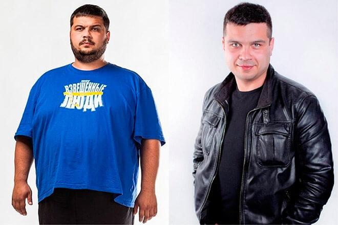 Фото Петра до и после похудения на реалити-шоу «Взвешенные люди